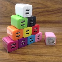 MKL01 Candy Color 5V 2.1A Dual USB Charger For US EU Universal Travel Wall Cell Phone Chargers 10 Colors