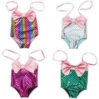 Çocuklar Kızlar Mermaid Mayo 7 Renkler Toddler Sling Büyük Yay Mayo Çocuklar Plaj Bikini Su Sporları Mayo 1-4 T 060327