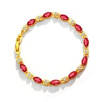 Link, Chain 24K Gold Plated Bracelet Color Zircon Brace Lace Charm Cuff Fashion Jewelry Hand Accessories Wrist Ornament Ladies