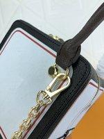 M57478 نيكولاس Ghesquiere كروز قماش قابلة للإزالة سلسلة حزام طباعة إلكتروني الزهور لعب بطاقة سيدة لعبة على أكياس مربع حقائب الكتف
