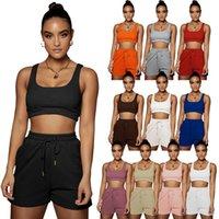 Women's Two Piece Pants Tracksuits Suit 2 piecess Sleeveless vest tshirt Crop Top + shorts Casual Solid color sports yoga Suits plus size S M L XL 2XL