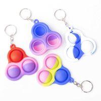 Simple Dimple keychain fidget Sensory pop toys bubble triangle bag pendants squeeze silicone toy key ring pendant G22402
