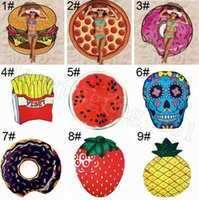 Towel Polyeater 150cm Hamburger Fruit Print Picnic Mat Donut Pizza Pineapple Round Thin Beach Sarongs OOA819 H8TV