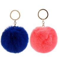 Classic Fashion 8cm Fluffy Ball Keychain Cute Plush Multicolor Keyring Bag Charm Fur Key Chain Lovely Accessories