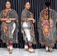Ethnic Clothing 2021 Summer African Women Polyester Printing Plus Size Two Pieces Sets Long Dress And Pant Clothes For