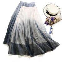 Юбки Sherhure 2021 Сетка Высокая талия Длинные Розовые Saias Женщины A-Line Юбка Jupe Femme Faldas