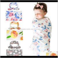 Bebek Doğan Çiçek Baskı Ilmek Bantlar Uyku Alma Battaniye Seti Rahat Bebek Yatak Kundak Sevimli Kafa Setleri NWSEA BL XCYBC