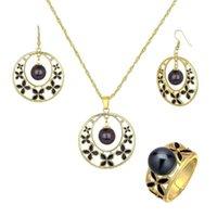 Sophiaxuan Mode 2021 Hawaiian Gold Bijoux Perles Ensembles Bagues Ensemble Boucle d'oreille et collier géométrique pour femme Bijoux Femme Boucles d'oreilles