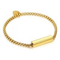 Womens Gold Color Cable Link Pulsera Nombre de ID simple Nombre Acero Inoxidable Encanto de monedas para niñas 7-8 pulgadas DDB323 Enlace, Cadena