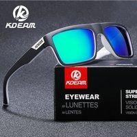 KDEAM 스트레이트 탑 라인 직사각형 편광 선글라스 남자 서명 태양 안경 스포츠 그늘에는 보호 케이스가 포함되어 있습니다.
