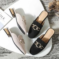 Slippers 2021 Designer Gold Chains Women Square Cover Toe Slides Shoes Metal Decoration Chunky Heels Mules Big Size 43