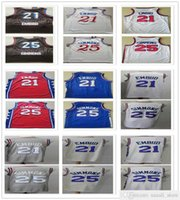 خياطة الرجال الشباب أطفال جويل 21 القمصان القمضة 2021 مدينة جديدة أسود أزرق أبيض كريم بن 25 سيمونز كرة السلة كلية قميص سريع الشحن