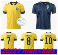 Schweden Ibrahimovic Herren Soccer Jerseys 20/21 Kallstrom Larsson Home Away Football Shirt Nationalmannschaft TOIVONEN MARCUS BERG Uniformen