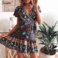 Simplee Bohemian Floral Damen Minikleid V-Ausschnitt Wrap Sash Print Rüschen Kleider Weibliche Sommer Elegante Urlaub Strand Sommerkleid