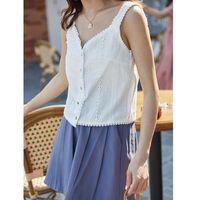 Make Summer Han Edition Sweet Flower Bud Silk Condole Belt V-neck Brief Paragraph Small Vest Women's Tanks & Camis