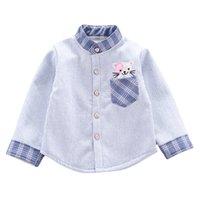 Shirts Winter Blue Casual Shirt Baby Boy Tees Long Sleeve Stripe Cartoon Print Thicken Warm Kids Tops Blouse