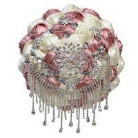 Lyxiga pärla rhinestones brud brudtärna brosch buketter naken rosa satinrosa buketter, bröllopstillbehör pf009 dekorativa blommor wrea