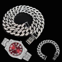 Chains 3pcs Kit 15MM Hip Hop Iced Out Paved Rhinestones Miami Cuban CZ Necklace+Watch+Bracelet Rapper Necklaces For Man Charm Jewelry