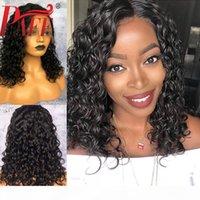Paff короткие вьющиеся человеческие волосы полное кружевное парик 4 * 4 шелковая база без гнустого REMY бразильский шелковый топ предварительно сорванный волос