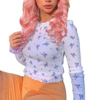 Women's T-Shirt Autumn Women Stylish Sexy Long Sleeve Floral Print Top Fashion Round Neck Pullover Tops For Ladies Fresh Edge Shirt