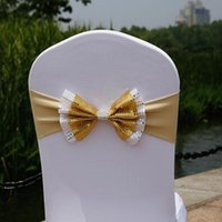 Sashes 35*28cm 10Pcs Sequins Bow Tie Chair Wedding Party Sash Spandex Elastic Bands Knot Cover For Banquet