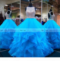 2019 Aqua Blue Beading Sequins Organza Quinceanera Dresses Tiered Ruffles Sweet 16 Girls Pageant Gowns Backless Formal Party Dress Prom Long