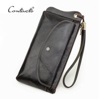 CONTACT'S Genuine Leather Wallet Men Wristlet Design Long Purse Coin Pocket Passport Bag For Card Holder Phone Wallets1