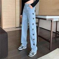 Sonbahar / Kış Vintage Baskılı Jeans Kadınlar Için Kalp Moda Düz Bacaklar Uzun Pantolon Denim Gevşek Sokak Giyim Kadın