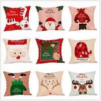 Pillowcases Christmas 45*45cm DIY pillow case Pillowcover sofa home decoration Santa Claus Elk Linen wholesale cheaper A13