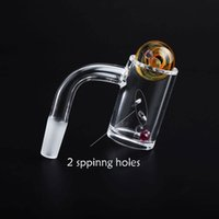 Smoking Accessories Beveled Edge 4mm Bottom Quartz Banger Nails With Spinning Side Holes and 20mmOD Glass Marbles & Pearls For Bongs