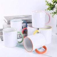 320ML Ceramic Blank Sublimation Mug Heat Transfer MDF Handle Mugs Personality DIY Simple Coffee Cup 7 Colors Gift Supplies HHE6745
