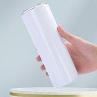 20oz 30oz التسامي مستقيم نحيل بهلوان 20 30 أوقية الفولاذ المقاوم للصدأ فارغة أبيض سليم كوب مع غطاء سترو اسطوانة زجاجة المياه القهوة