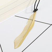 Neue Hochzeit Gold Lesezeichen Feder Olive Ginkgo Metall Absatz Kreative Lesezeichen RRD7494