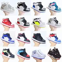 Jumpman 1S 1 niños pequeños zapatos de baloncesto juego de pino Juego de pino Royal Obsidian Chicago BRED Zapatillas de deporte Multicolor Tie-Dye 4 4s Luces de color verde claro gris Khaki Tamaño 22-35