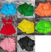 Summer Women Bikinis+shorts 3pcs sets Swimwear Bathing Suits Embroidery swimming suit trendy girls beach wear sexy bikini bra+bottom+short pants 3 pieces set 4924