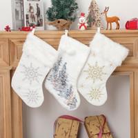 크리스마스 장식 눈송이 봉제 스타킹 크리스마스 트리 장식 대형 캔디 선물 가방 파티 용품 W-00828