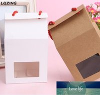 Gift Wrap Kraft Paper Bag Clear Window Craft Box Red Rope Handle,Blank Brown&White Store Candy Cake Dessert Packaging Supplies1 Factory price expert design Quality
