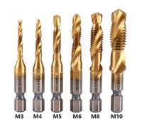 Hand Tools 6PCS Tap Drill Bit Hex Shank Titanium Plated HSS Screw Thread Machine Compound M3 M4 M5 M6 M8 M10