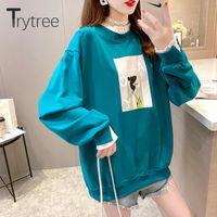 Women's Hoodies & Sweatshirts Trytree 2021 Winter Casual Fleece Liner Lace O-neck Sleeve Cotton Blend Streetwear Printed Tops For Women