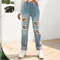 Women's Jeans Size XS-L Summer Hole Ripped Boyfriend For Women Jeggings Cool Denim High Waist Skinny Pants Pencil Casual Trousers