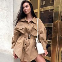Women's Trench Coats Thin Windbreaker For Women Spring Summer Casual Long Sleeve Jacket Belt Overalls Tops Blouse Coat Coupe-vent 2021