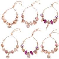Charm Bracelets BRACE CODE Temperament Purple Adjustable Bracelet Jewelry DIY Crystal Crown And Heart Lock Key Bead Fine Gifts