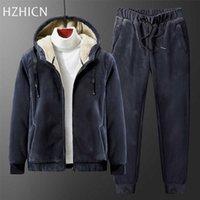 Winter Fleece Mens Thick Hoodies+Pants Suit Man Hooded Sweatshirt Sportswear Tracksuits Male Hoodie Sweatsuits size 8XL