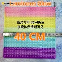 Luminous Glow 40CM!!! Super Size Fidget Toys Rainbow Bubbles Push Fidget Sensory Toy Stress Reliever Board Games Reusable Squeeze Toys FJ23