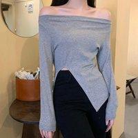 Women's T-Shirt Korean Style Slash Neck Women Autumn 2021 Pullovers Solid Side Split Long Sleeve Slim Top Casual Female Clothing Spring