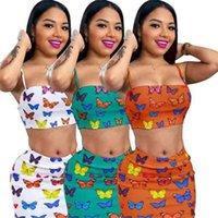 زائد حجم النساء قطعتين مجموعة فراشة طباعة أزياء أكمام المحاصيل قمم تنورة قصيرة اللباس الصيف وتتسابق الملابس G40JCDX