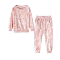 مجموعات الملابس 2021 الربيع الفتيات رياضية دعوى كودري سميكة الاطفال ملابس مجموعة الأطفال عارضة المخملية الرياضية الأزياء قميص فتاة