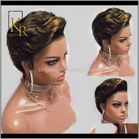 Productsombre T1B 27 Color Pixie Cut Style 13X4 Lace Human Hair Wigs For Women Remy Brazilian Short Bob Straight Front Wig Vsbob Drop Delive