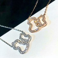 Kirin Double Necklace 925 Sterling Silver Plated 18k Oro Huele Out Full Diamond Pendant Gourd New Pendientes H886