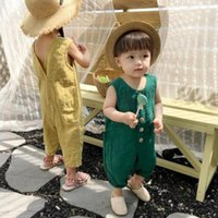 Jumpsuits Summer Boys And Girls Linen Soft Back Split Sleeveless Overalls Children Casual All-match 1-6Y One-piece Rompers Pants